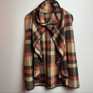 Plaid open cardigan great quality